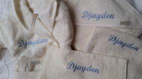 Borduren badjas voorkant voor grote broer of zus